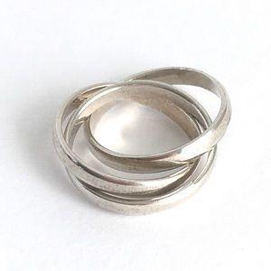 Vintage Sterling Silver Rolling Ring Triple Stack